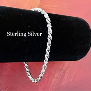 STERLING SILVER ROPE CHAIN BRACELET 925 STACKING